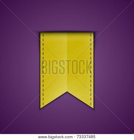 Yellow bookmark decoration ribbon. Vector illustration of silky ribbon bookmark