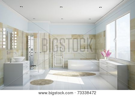 Clean modern bathroom with terracotta tiles and a bathtub