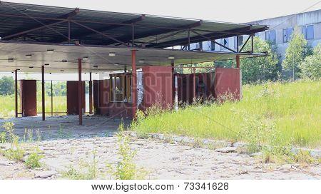 Abandoned station near the plant Sibvolokno, Zelenogorsk, Krasnoyarsk Territory poster