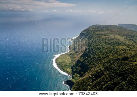 Molokai Island Coastline View From Above