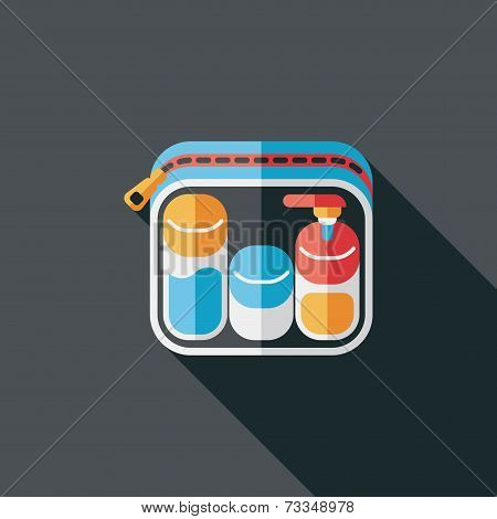 Cosmetics Containers Flat Icon With Long Shadow