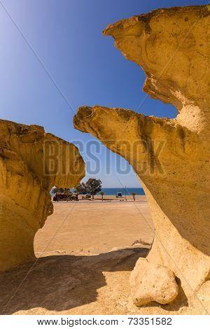 Bolnuevo Mazarron eroded sandstones in Murcia spain poster