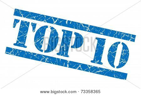 Top 10 Blue Square Grunge Textured Isolated Stamp