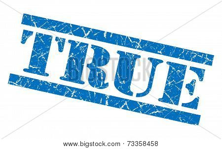 True Blue Square Grunge Textured Isolated Stamp