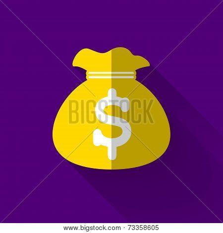 Colorful Flat Design Money Bag Icon