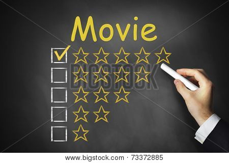 hand writing movie on black chalkboard rating stars ranking poster