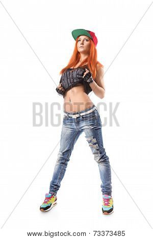 Modern Hip-hop Girl Standing On Isolated Background