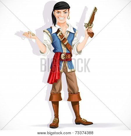 Brave pirate with pistol