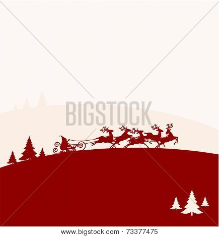 Santa Claus Driving in a Sledge. Christmas vector background.