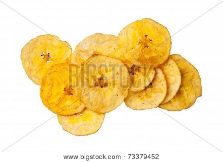 Platano plantain chips on white background close up poster