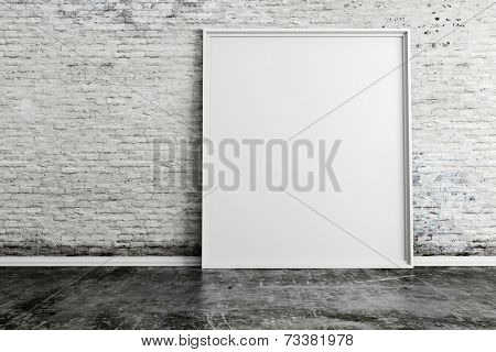 3d blank frame and vintage brick wall