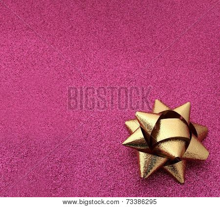 Pink Sparkle Gold Holiday Bow