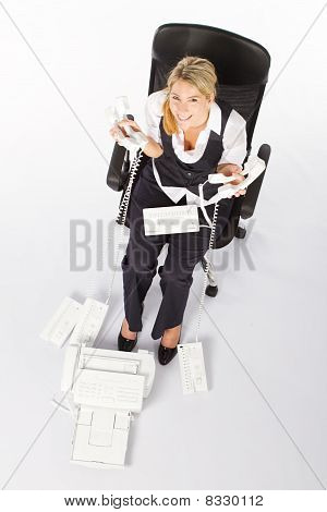 businesswoman holding phones