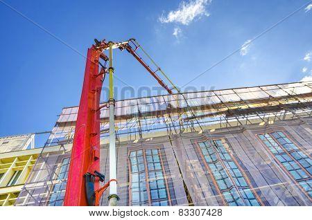 Construction Tower Crane Pouring Concrete