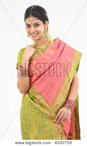 Young girl in silk sari