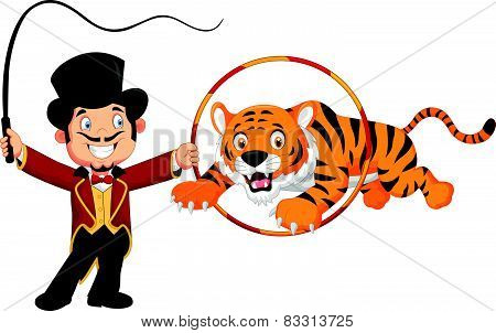 Cartoon tiger jumping through ring