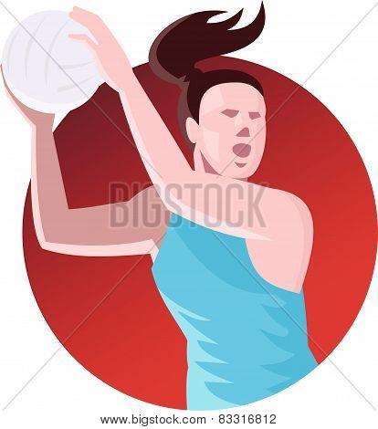 Netball Player Passing Ball Retro