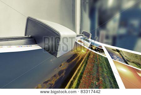 Offset printing machine in printshop