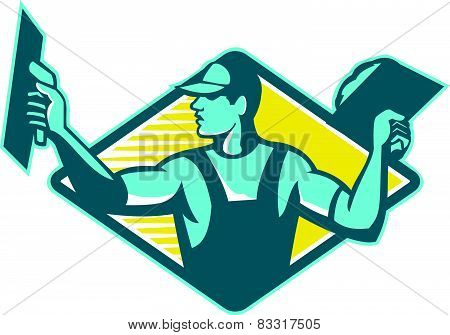 Plasterer Worker Tradesman Plastering Retro