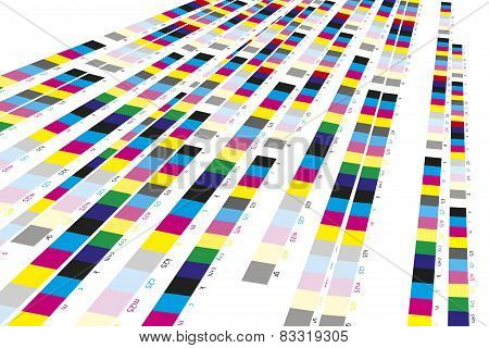 Color reference bars of printing process in printshop