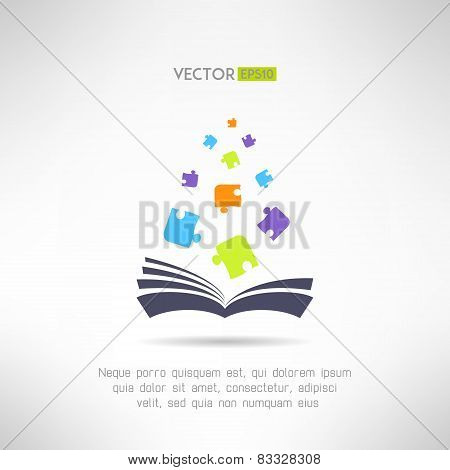 Book icon with puzzle pieces flying from it. Riddle and smart games library section sign. Vector ill
