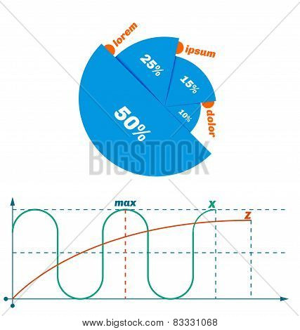 Flat modern clear diagram with axis ordinates. poster