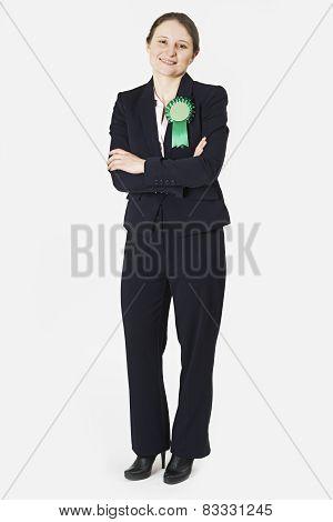 Full Length Portrait Of Female Politician Wearing Green Rosette