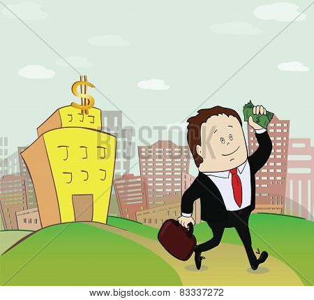 Man with money go from the bank. Concept  illustration. Vector