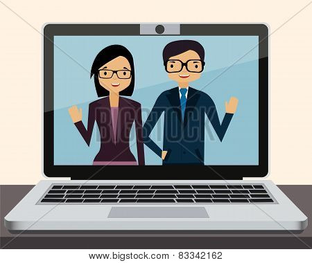 Videoconference on laptop in office. Vector illustration