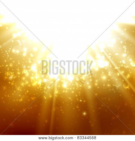 abstract illustration of light rays on the deep amber background with bubbles or sparkles. vector poster