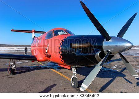 NIZHNY NOVGOROD. RUSSIA. FEBRUARY 17, 2015. Plane Pilatus of Dexter airline
