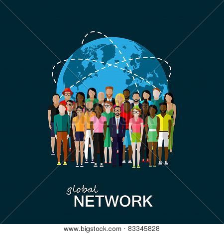 flat illustration of society members with large group of people