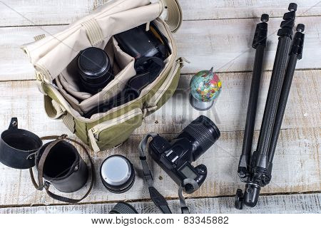 Photographer Camera Bag And Tripod