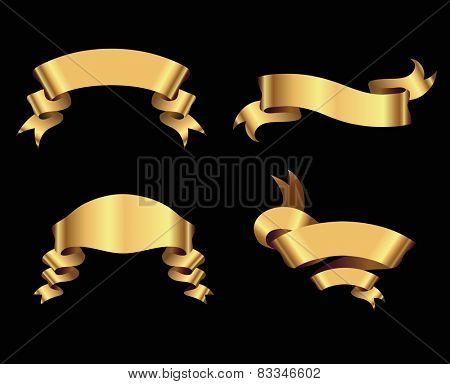 Golden ribbons on black background. Isolated.