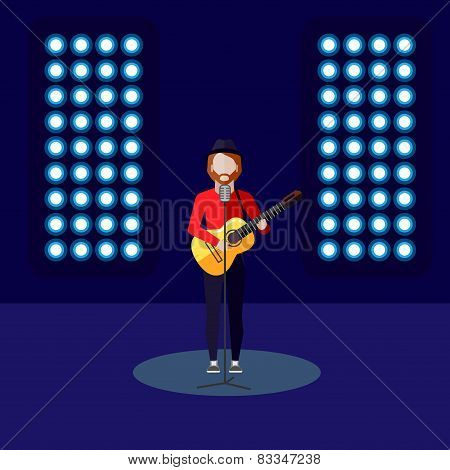 flat illustration of singer on stage. music performance