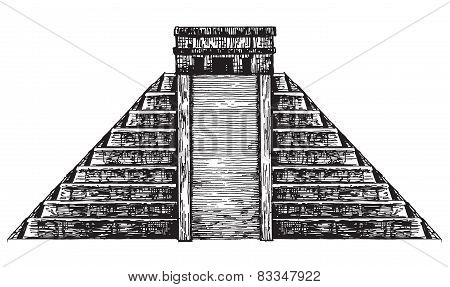 Mexico vector logo design template. Mexican pyramid or historic architecture icon.