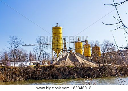 Gravel Pit With Several Silos