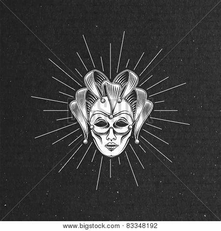 illustration of engraving venetian carnival mask or jester