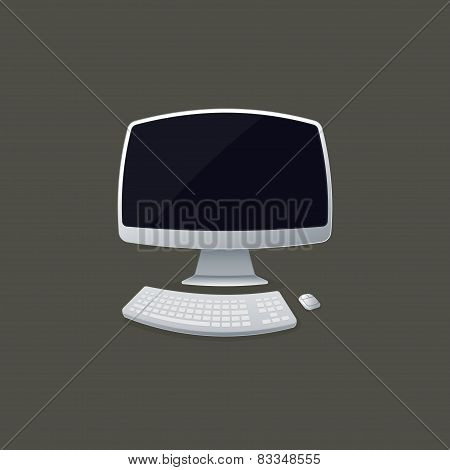 illustration of fisheye lens view of computer. technology device
