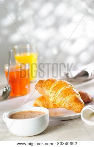 Croissants, Jam, Juice And Coffee