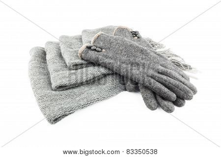 Woolen Scarf And Gloves Isolated On White Background