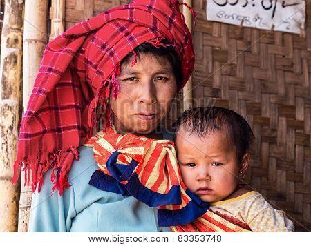Portrait Of Burmese Woman With Daughter At Inle Lake, Myanmar