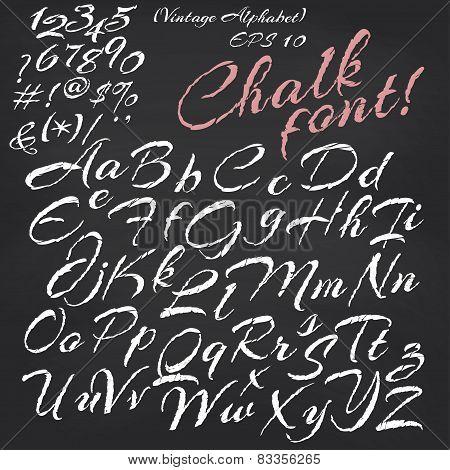 Vector alphabet.  Chalk font on blackboard background