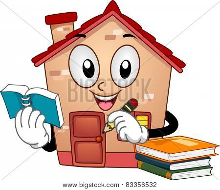 Mascot Illustration of a House Holding a Notebook and a Pencil