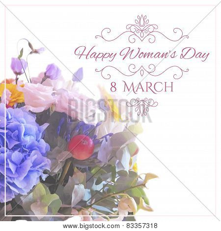 Happy Womens Day. 8 March  on unfocused floral background. Vector illustration poster