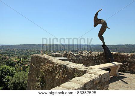 Sculpture On Ramparts Of Saint-paul-de-vence, Provence, France.