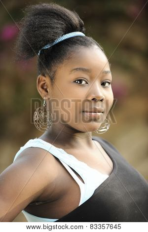 Closeup portrait of a beautiful young Haitian teenager.