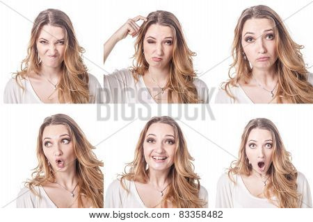 Collage of woman different facial expressions emotions and emoticons poster