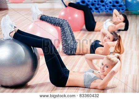 Beautiful women in sports club