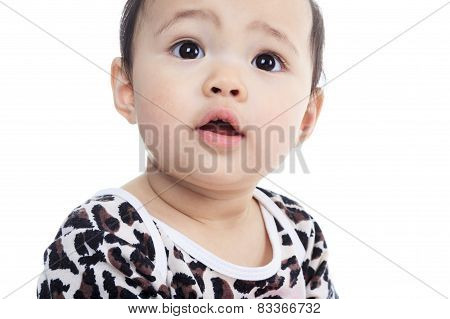 A Asian baby on a studio white background